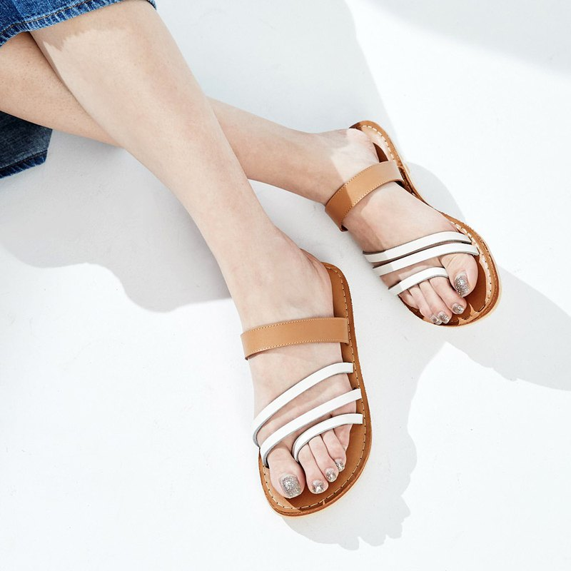 Vegetable tanned leather - angled lane hit color leather rope slippers - Guggen
