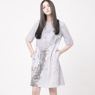 Flock Print Pocket Dress Passu Beauty Landscape Printed Dress