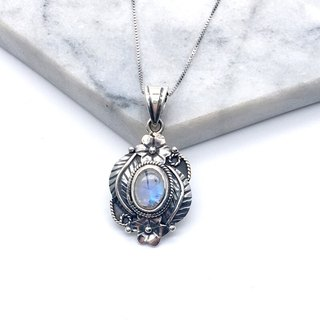 Moonstone 925 silver flower necklace design Nepal handmade mosaic production