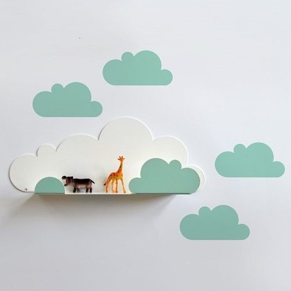 Clouds modeling shelf + wall stickers (light green)