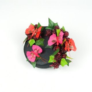 Pillbox Headpiece Hat Fascinator Butterflies and Raspberries in Black Satin - Woodland Spring and Summer Party, Hen Night, Cocktail Hat