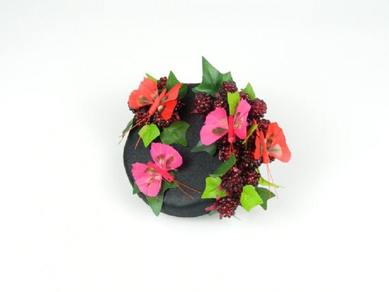 Pillbox Headpiece Hat Fascinator Butterflies and Raspberries in Black Satin