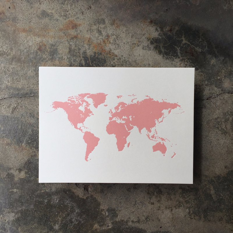 Postcards-World Map-Hot Pink