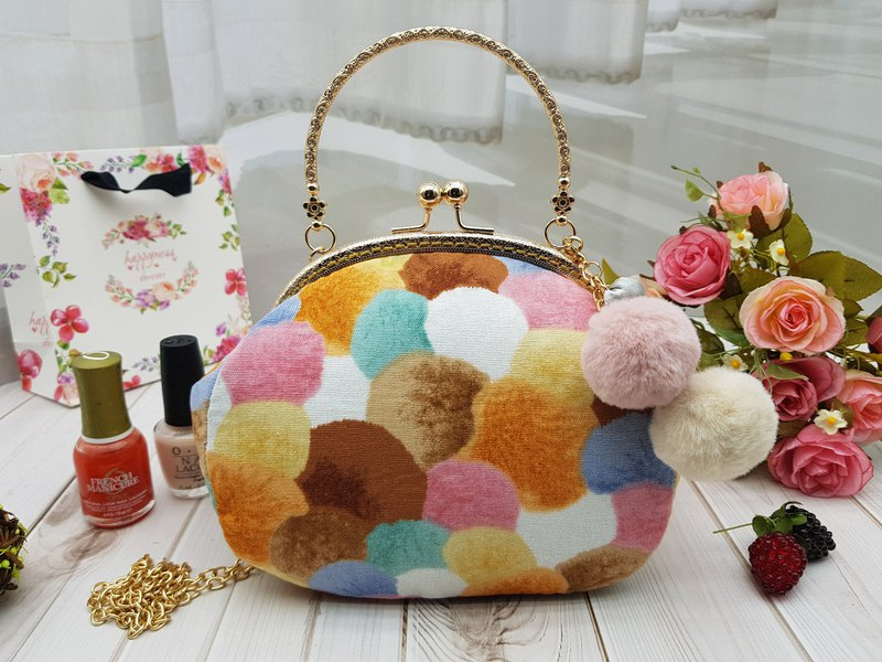 Binfen hair ball mouth gold bag cosmetic bag handbag oblique bag birthday mother's day gift