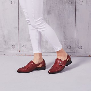 [Time Collection] calfskin wing carved side hollow tassels shoes _ intoxicated red