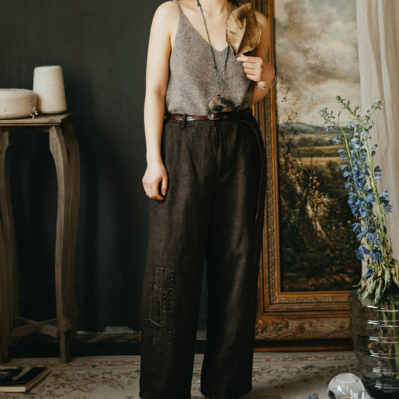When you meet the chestnut color vintage linen straight patch casual wide pants loose organic cotton embroidery