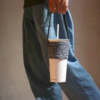 OMAKE Mon wax blue dyed ancient cloth drink bag