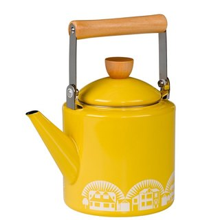 UK imports Wild & Wolf Nordic retro house wooden handle pot / teapot (sunshine yellow)