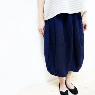 [MIT] Qi Wu eight 〇x elastic cotton bud skirt seven (dark blue)