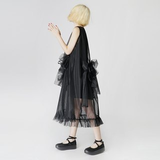 Butterfly knotted flower black two-piece sleeveless dress dresses - imakokoni