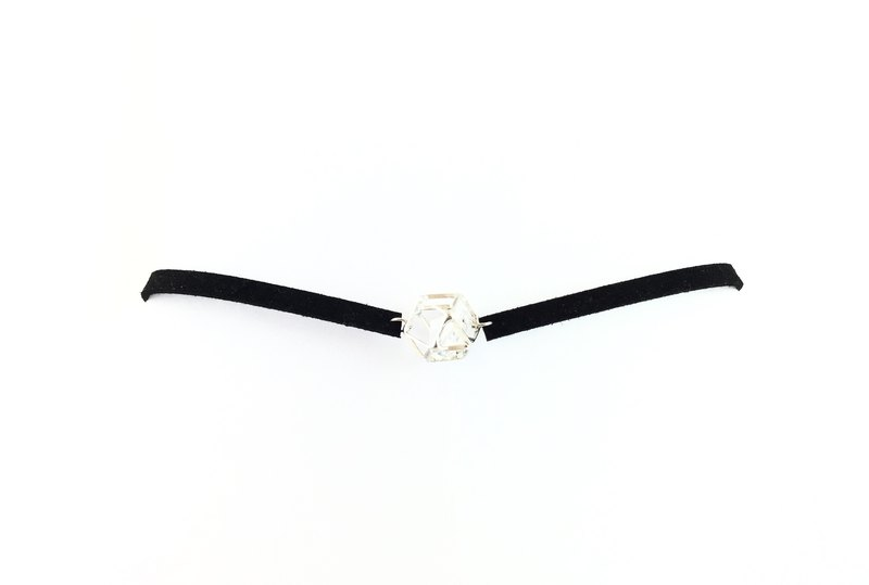 Transparent Crystal - black suede rope necklace