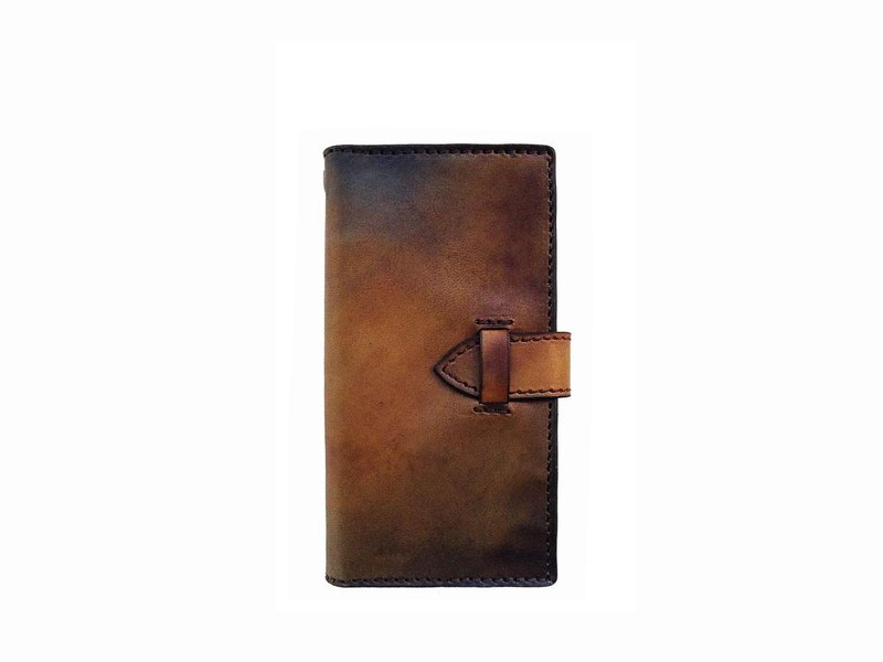 Brown uneven dyed leather iPhone case / with card pocket / antique brown genuine leather