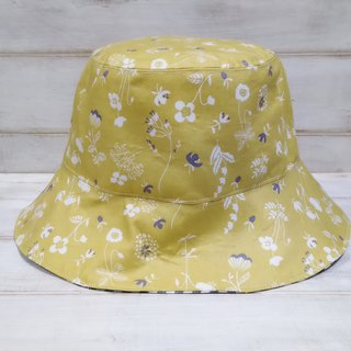 Bright mustard small floral black plaid double-sided fisherman hat visor