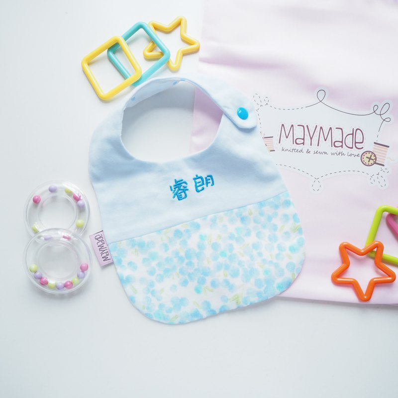 Handmade Name Embroidery Bib -Cotton Ball Style