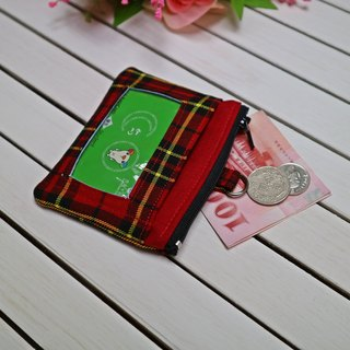 Plaid Easy Travel Card Voucher Purse ID Bag Small Purse Zipper Coin Bag Identification Card*SK*
