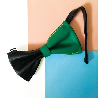 Sonniewing's Color-Blocking Leather Bow Tie