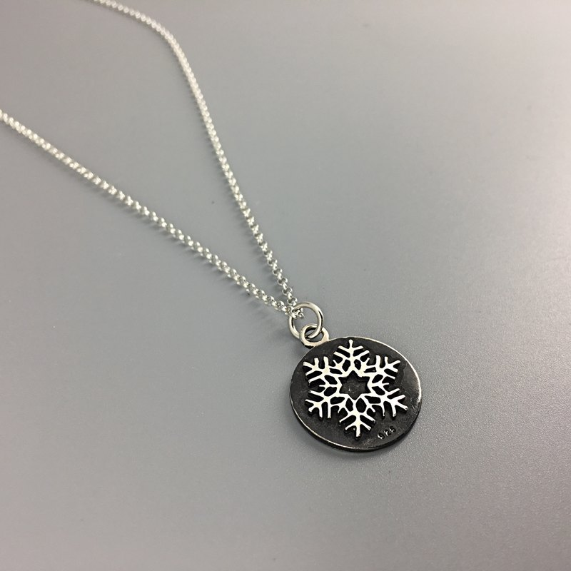 s925 sterling silver necklace-Christmas Snowflake-round flake