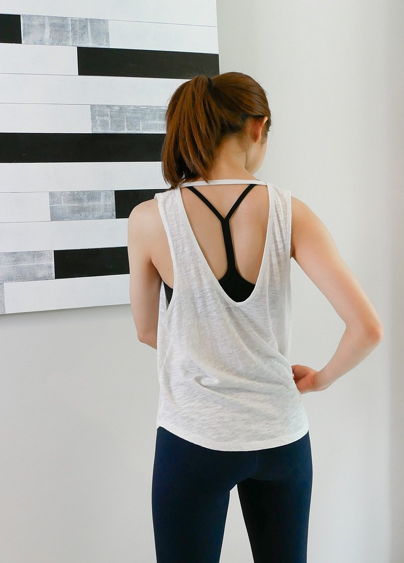 V Back Tank in White
