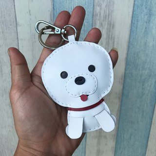 Handmade leather white cute puppy handmade sewn leather charm large size