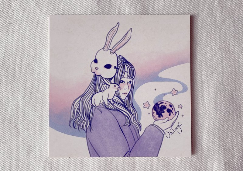 Rabbit and Moon / Postcard