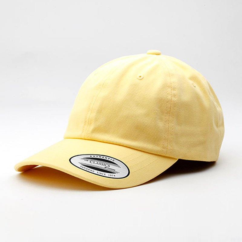 Low Profile Peached Cotton Twill Dad Cap ::yellow::