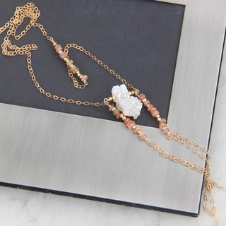 White quartz bohemian 14KGF long chain / Druzy gemstone nugget BOHO style 14KGF necklace