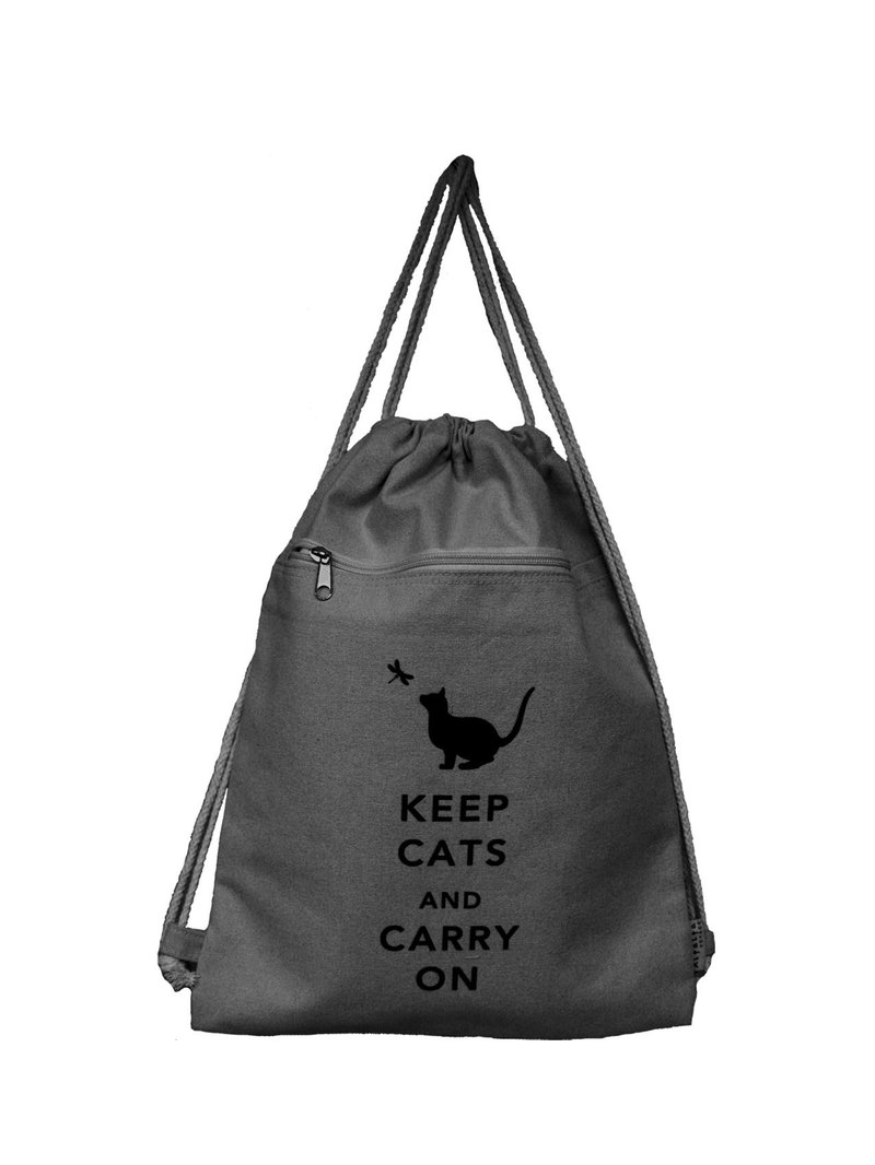 Keep Cats & Carry On Drawstrings Backpack - Light Blue