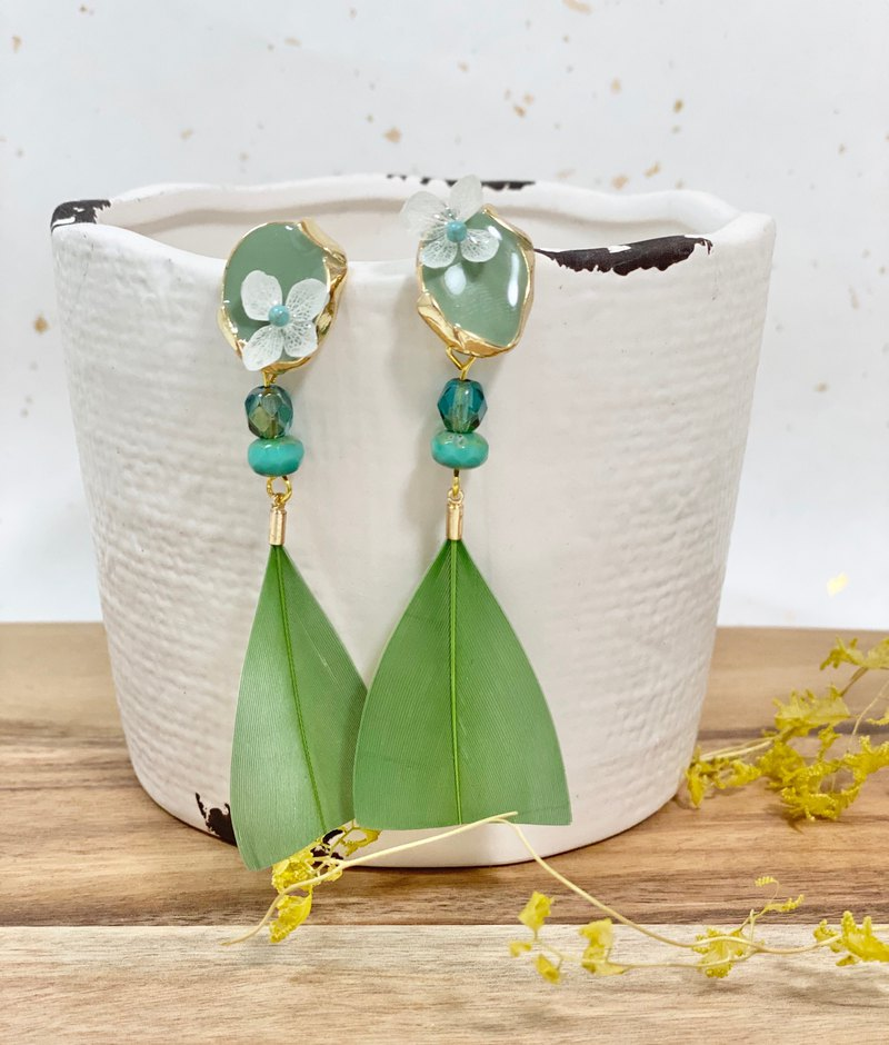Green Feather Hydrangea Earrings / Pendant