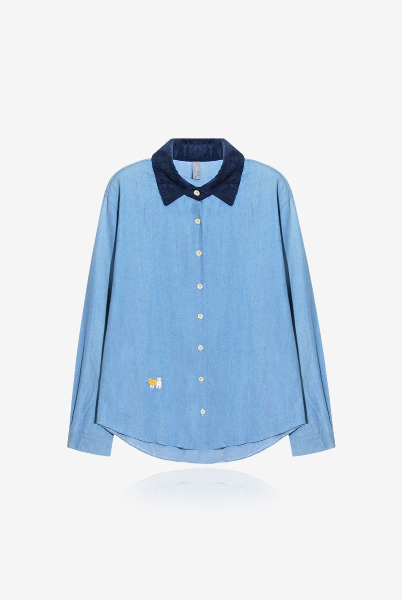 [A] small embroidery Chai Chai NG / corduroy collar denim shirt