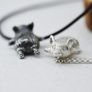 Corgi dog squats (sterling silver necklace dog silver) ::C% handmade jewelry::