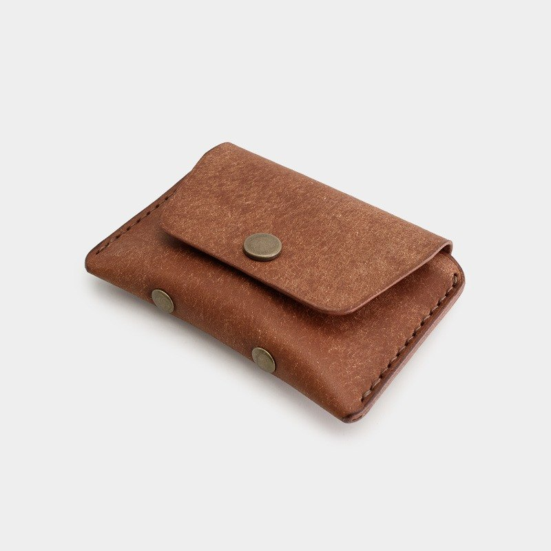 RENEW - Coin purse Italian vegetable tanned leather hand-stitched reddish brown Olmo card pack