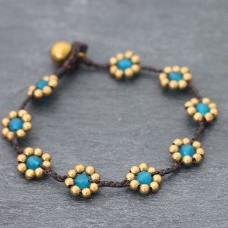 Daisy Light Blue Braided Bracelets Woven Folk Flower