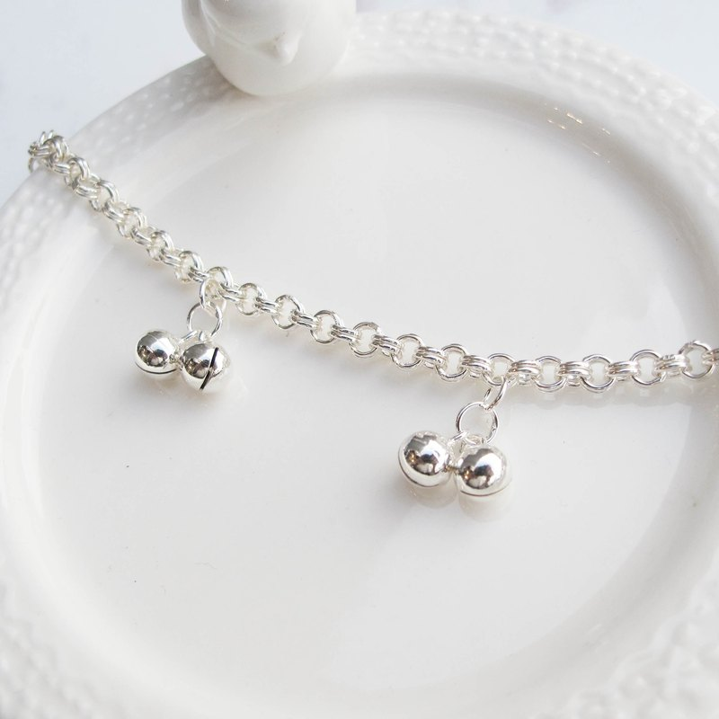 Big staff Taipa [old and young] cute and cute × small bells × children sterling silver bracelet