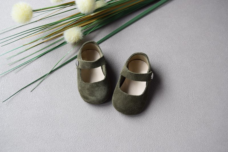 Olive Green Suede Baby Mary Jane, T-Strap Leather Mary Jane, Baby Girl Shoes