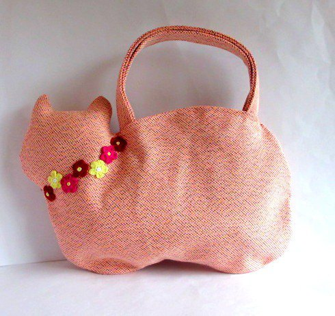 Cat bag with flower motif * Orange B