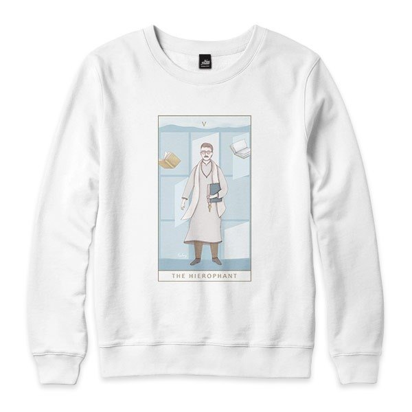 V | The Hierophant-White-Unisex University T