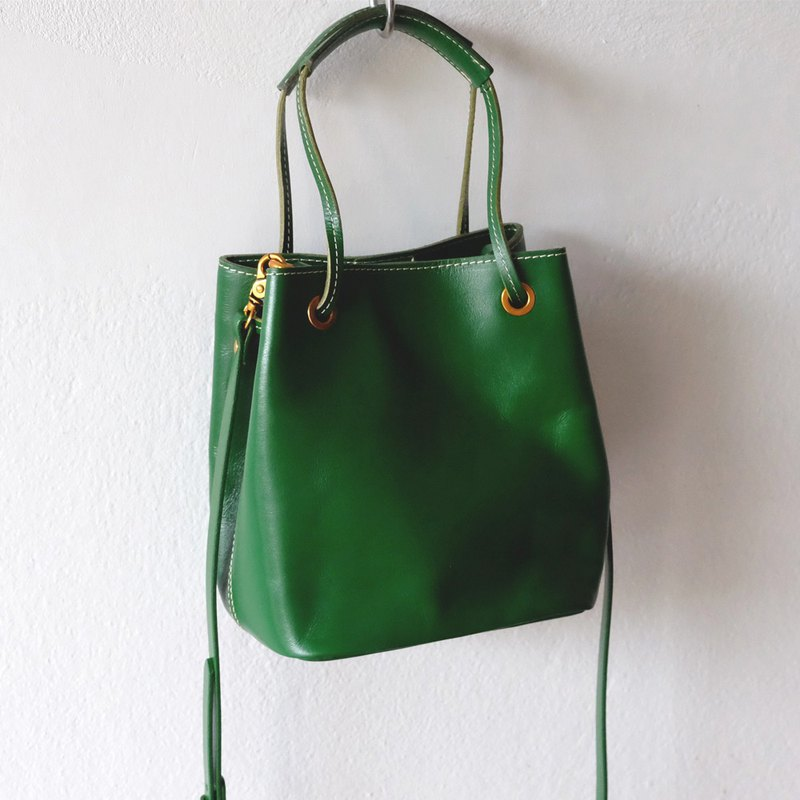 Square Leather Bucket Cross-body Bag/ Green Leather Tote