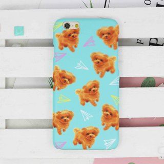 Watercolor Teacup poodle Dog plane matt phone case iPhone x 8 7 6 5 Note S8 plus