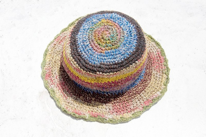 Valentine's Day gift limited handmade weave linen / weaving hat / fisherman hat / sun hat / straw hat / straw hat - gradient rainbow ice cream lace colorful stripes
