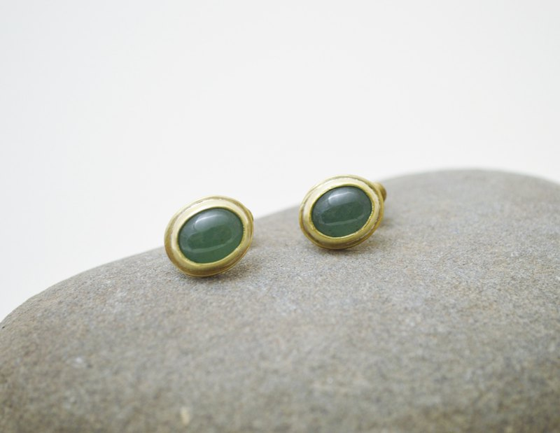 Simple Series-Aventurine‧Brass‧Clip on Earrings.non pierced earrings