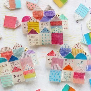 "plastic brooch ""townscape10"""