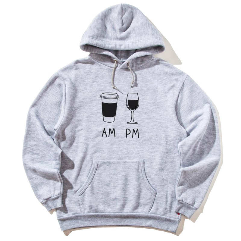 COFFEE AM WINE PM gray hoodie sweatshirt