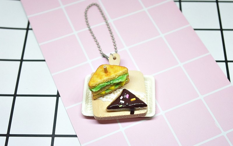 ➽ clay series - sandwich breakfast - ornaments <can be changed into a key ring> # bag accessories # # key ring pendant # # gift # # Fisher Food #
