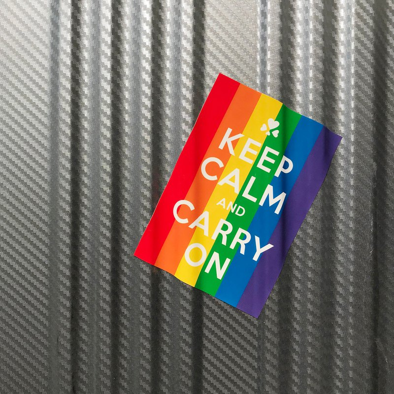 Six-color rainbow sticker - KEEP CALM AND CARRY ON