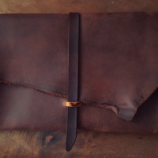 Customized deep coffee color pure leather clutch - can be engraved (made lover, birthday gift)