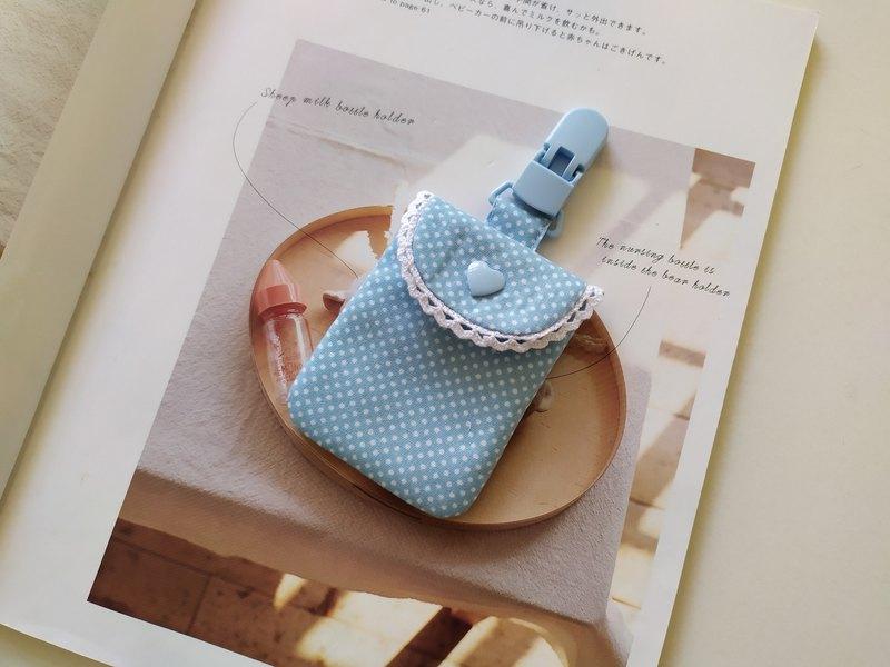 淺藍水玉棉蕾絲平安符袋 彌月禮物 香火袋 平安符 愛心扣