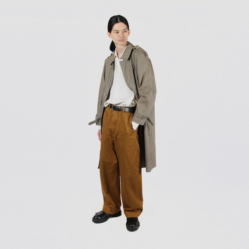 [Egg plant vintage] solid color loose outline men's vintage trench coat