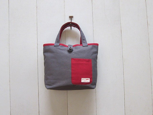 Macaron Series-Canvas Small Tote Bag Charcoal + Burgundy (Wood Button Opening + Small Outside Pocket)
