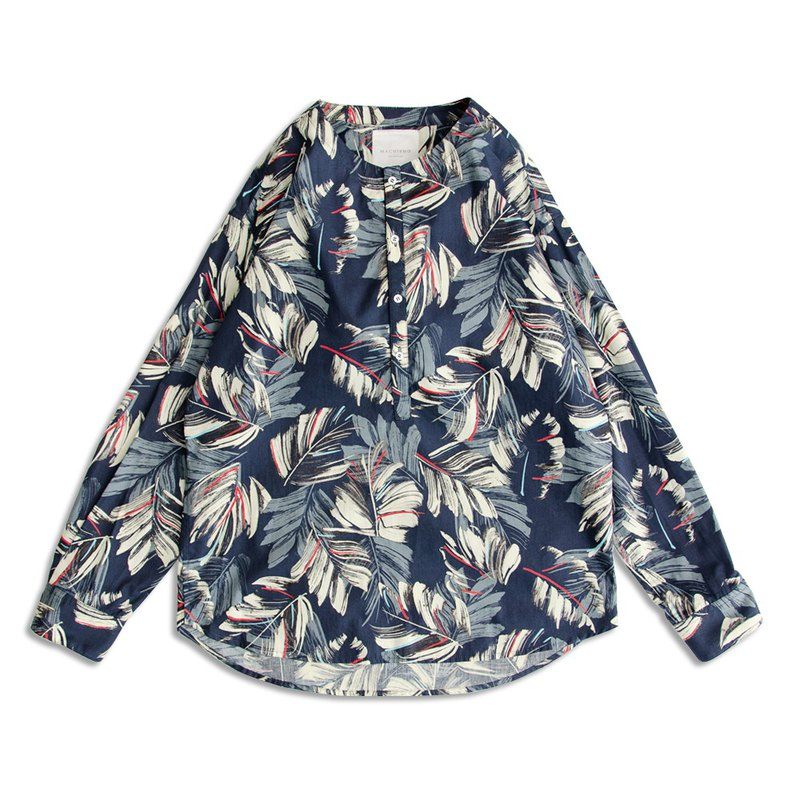 Feather full-print flat collar shirt