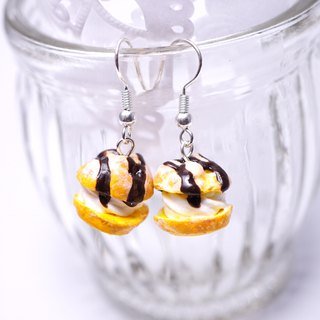 *Playful Design* Cream Puff With Chocolate Sauce Drop Earrings